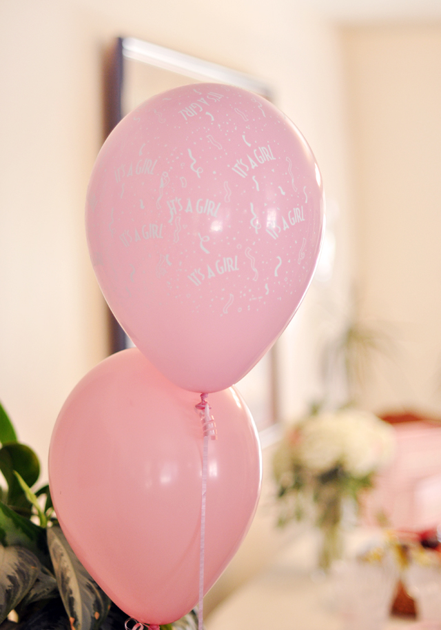 pink baby shower balloons