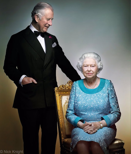 Queen Elizabeth and her inheritor Prince Charles together, which was taken in White Drawing Room in Windsor Castle