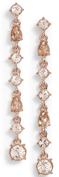 Givenchy Linear Drop Earrings Silk/Rose Gold