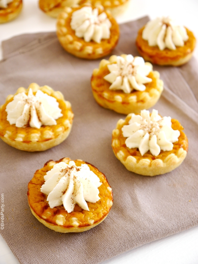 Recipe | Bite-Size Pumpkin Pies with Mascarpone Cream - BirdsParty.com