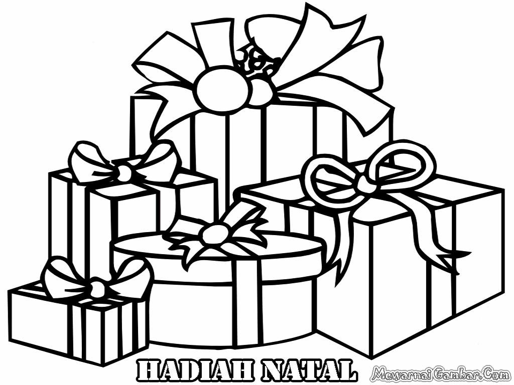 Gambar Hadiah Natal Untuk Diwarnai