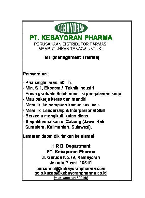Lowongan Kerja PT.Kebayoran Pharma – Management Trainee (Penutupan 12 November 2016)