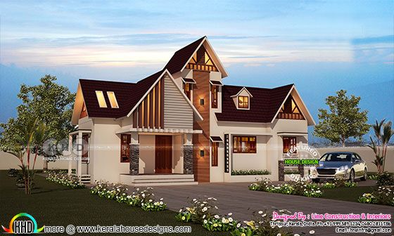 2561 square feet 4 bedroom western model house plan