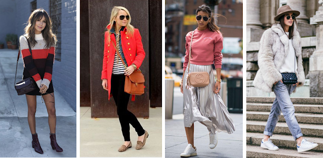 Vestido com botins, Casaco vermelho com loafers leopardo, Saia midi prateada com ténis, Jeans com casaco de pêlo são tudo looks cheios de estilo