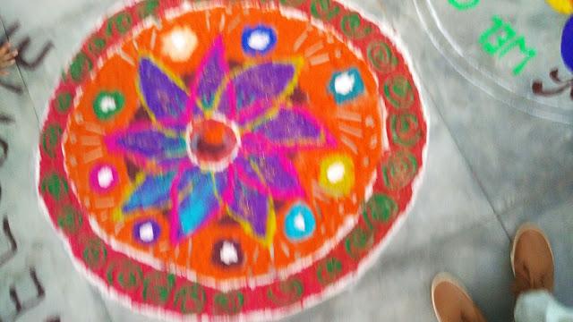 Diwali rangoli photos with flowers for kids