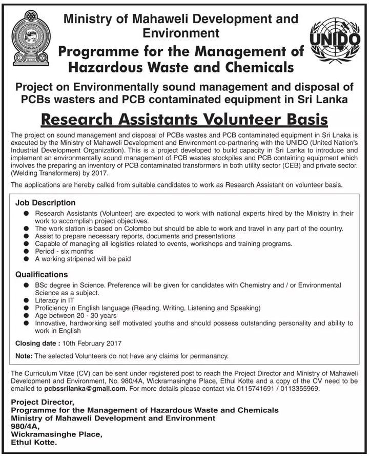 Research Assistant Volunteer Basis Ministry of Mahaweli – Research Assistant Job Description