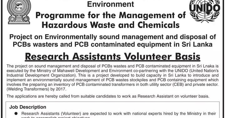 Research Assistant Volunteer Basis  Ministry Of Mahaweli