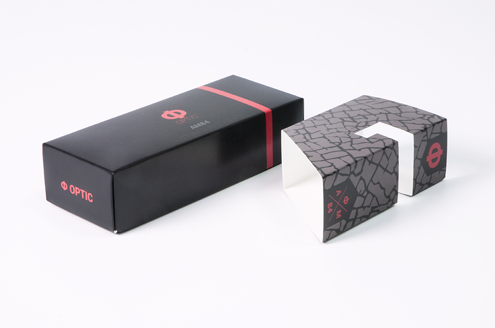 custom sunglasses packaging and holder on packaging of the