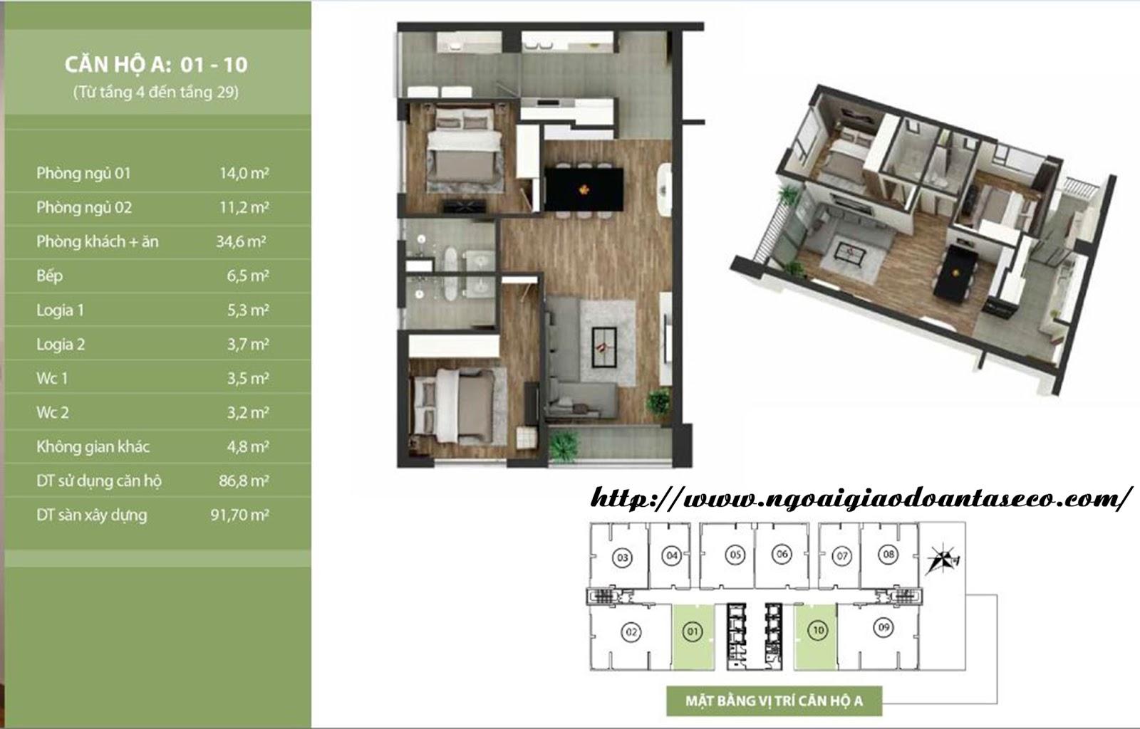 Hình ảnh thiết kế căn 1 và 10 - chung cư Taseco Complex