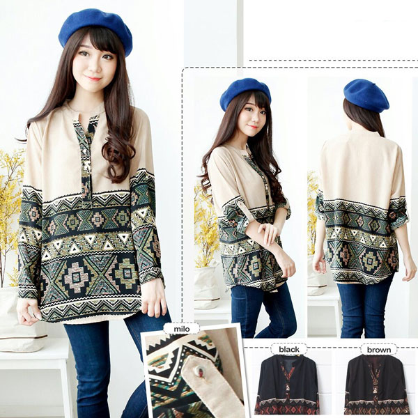 Jual Baju Lengan Panjang Tribal Long Sleeves Blouse - 13300