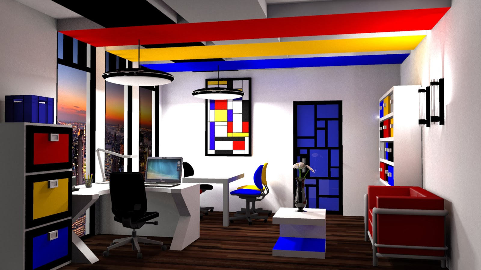 Color Scheme This Time Which Includes Red Yellow Blue White Black And Gray I Was Very Excited To Render My Sketchup Views For Mini Project