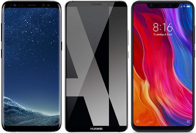 Samsung Galaxy S8 vs Huawei Mate 10 Pro vs Xiaomi Mi 8 64G