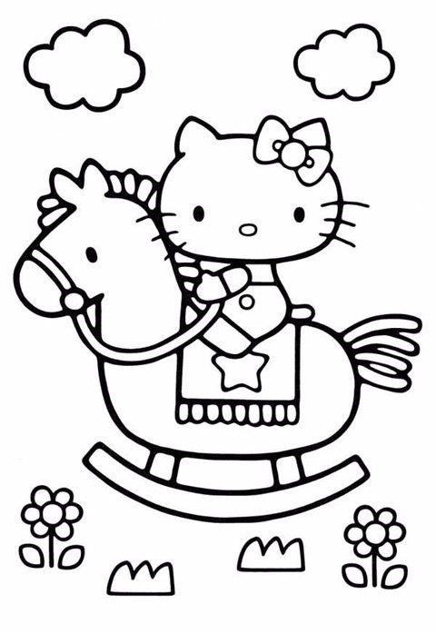 Tranh tô màu mèo hello kitty chơi ngựa gỗ