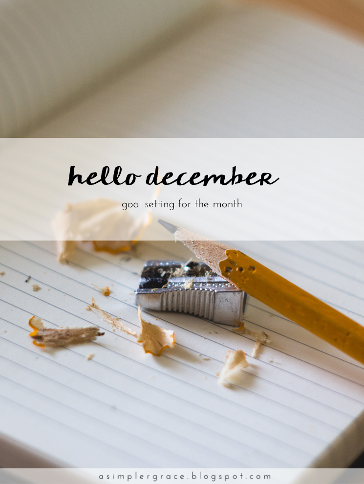 A monthly series tracking the goals I've set both in my personal and blogging life. - Hello December | Goals - A Simpler Grace