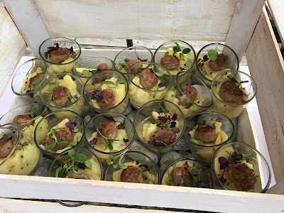meat balls potato salad finger food,  shades of raspberry and apricot, lake-side wedding in the Bavarian mountains, Garmisch-Partenkirchen, Germany, wedding venue Riessersee Hotel, wedding planner Uschi Glas, getting married abroad