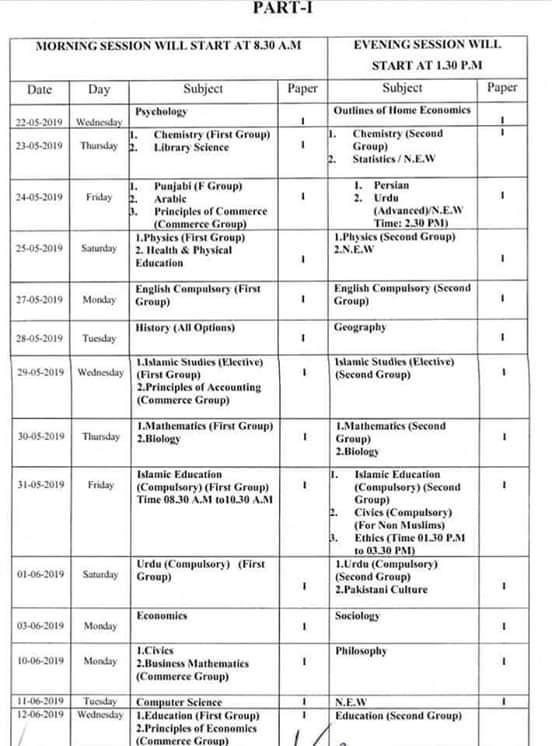 11th class date sheet 2021