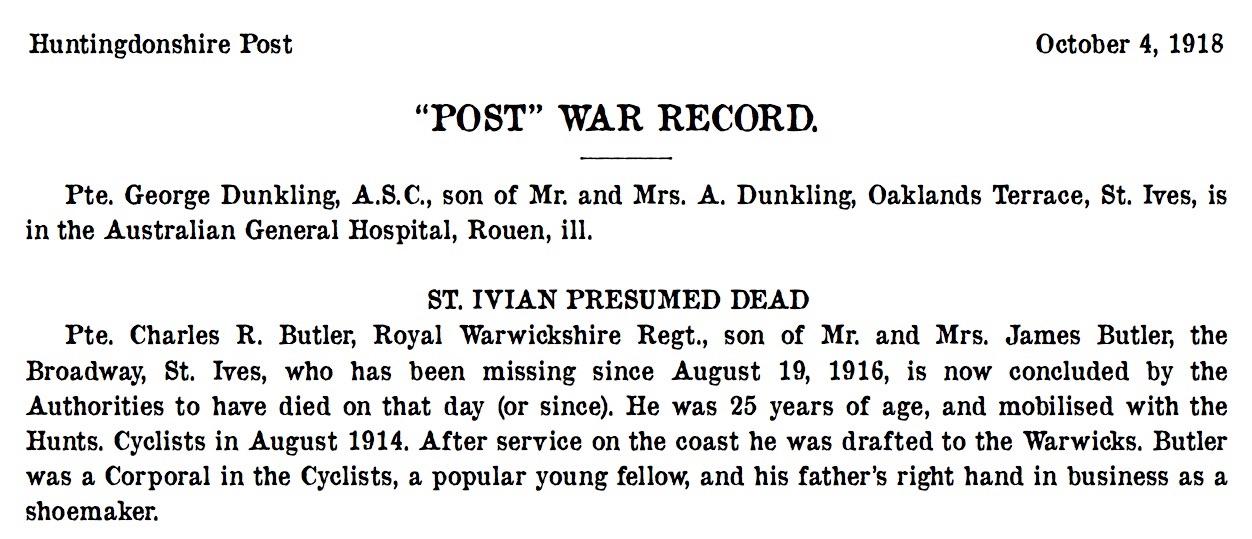 St Ives 4 October 1918