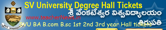 SV University Degree Hall Tickets 2019 SVU BA B.com B.sc 1st 2nd 3rd year Hall tickets