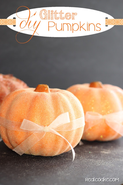 Easy DIY crafts using a dollar store pumpkin and transforming it with a little time and glitter from realcoake.com