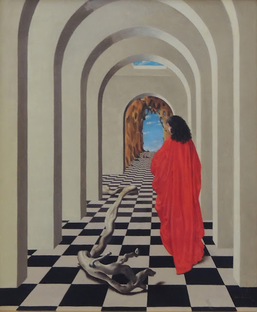 Jan Van der Loo surrealism Dalí tunel woman in red dress