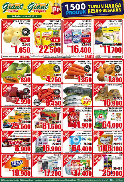 Katalog Harga Promo GIANT Ekstra & Ekspres WEEKDAY 02 - 05 April 2018