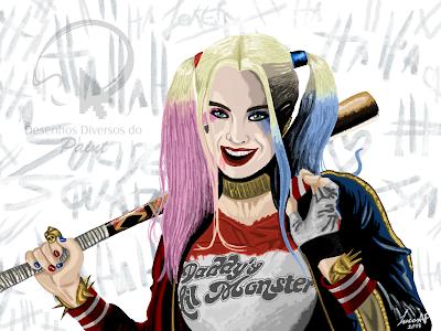 Harley Quinn/Arlequina desenhada no MS Paint