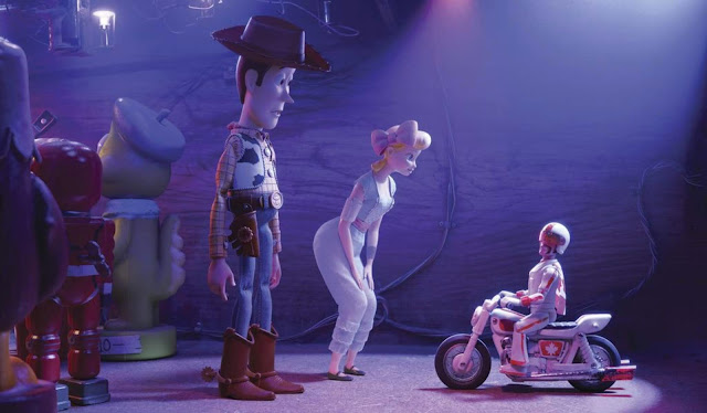 Toy Story 4 Woody and Bo Peep meet Duke Caboom