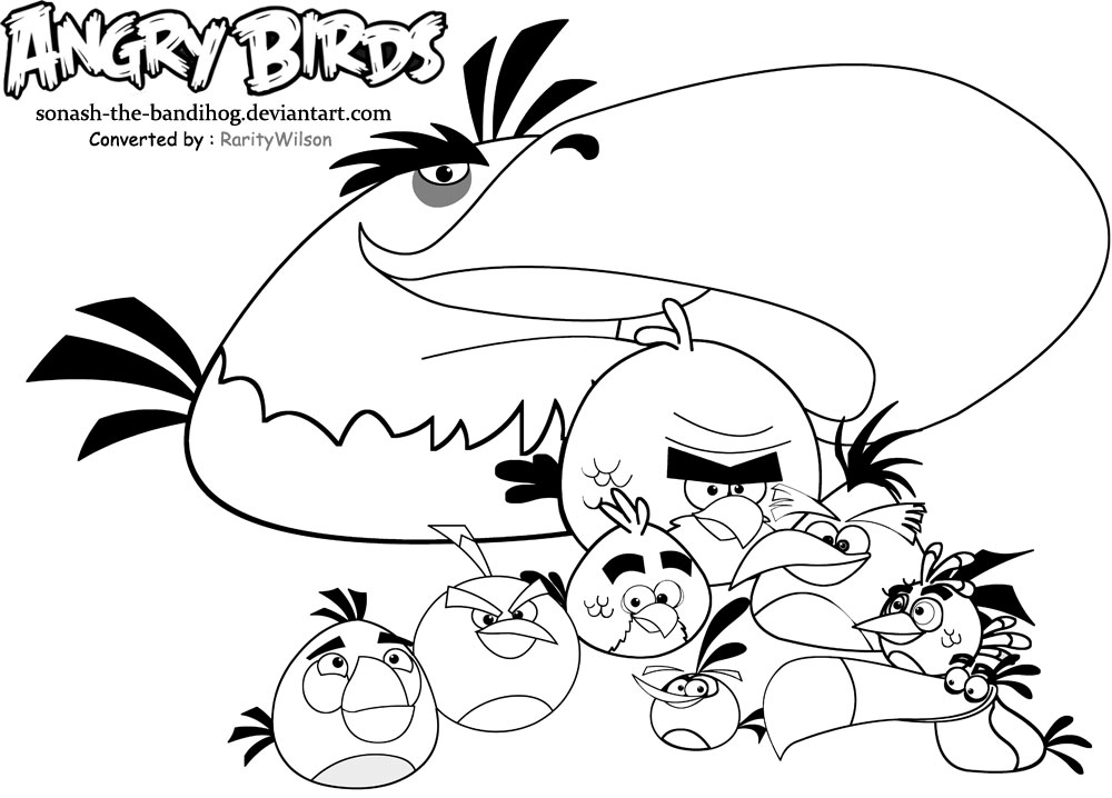 Angry birds coloring pages team colors for Angry bird color pages