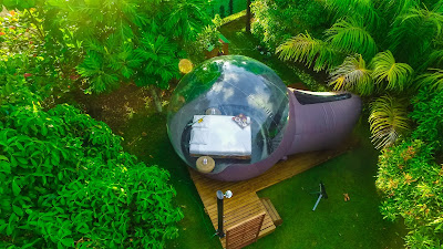 Wiwashimara, maison bulle vue aérienne