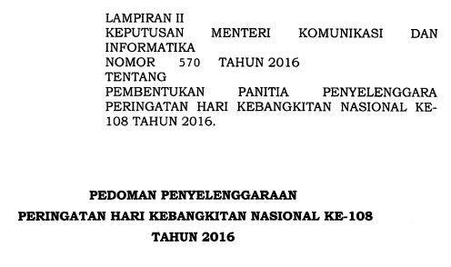 Pedoman Peringatan Hari Kebangkitan Nasional 2016 ( Juknis Harkitnas ke-108 Tahun 2016 )