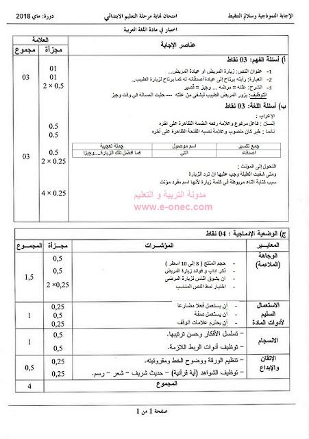 الاجابة النموذجية وسلم التنقيط لموضوع اللغة العربية شهادة التعليم الابتدائي 2018