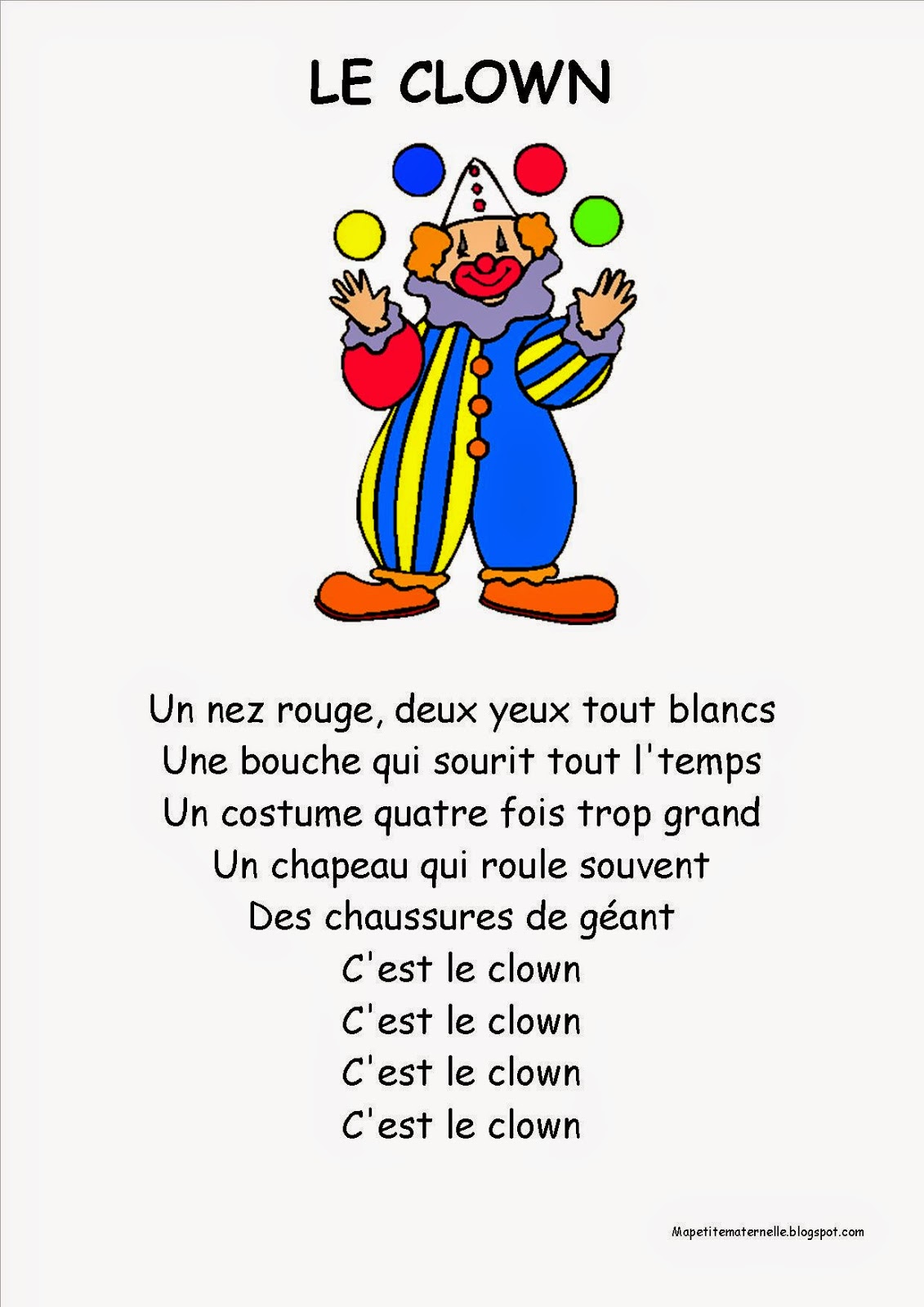 Le clown chanson PS