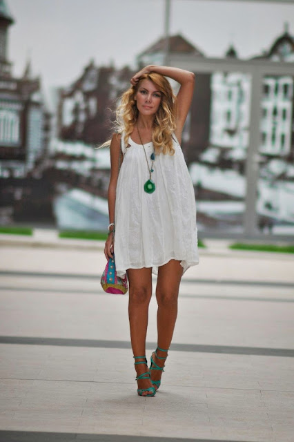 cbc4708fee71 Simona Mar  Festival White Summer Dress + Turquoise Sandals + Pom Poms  Pouch Bag