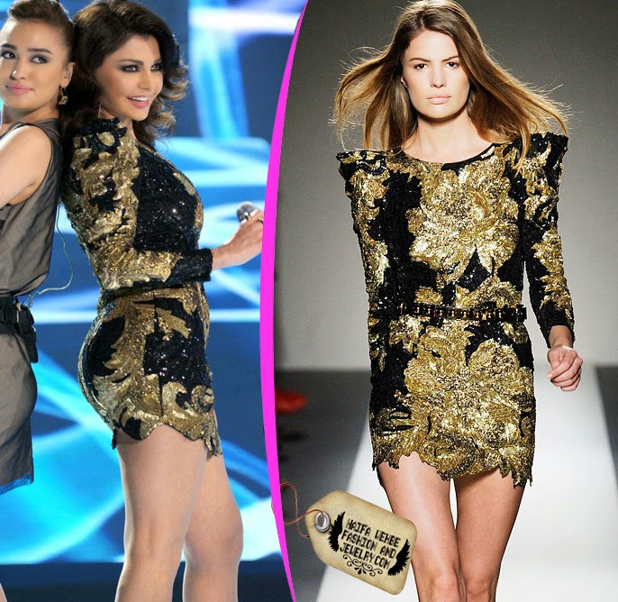 Haifa Wehbe Wearing Black And Gold Embroidered Sequins Dress By Balmain