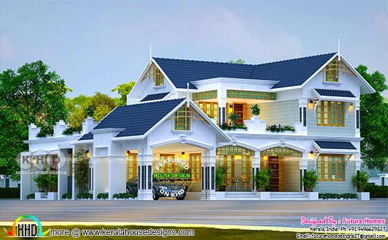 Beautiful 4 bedroom mix roof Kerala home design