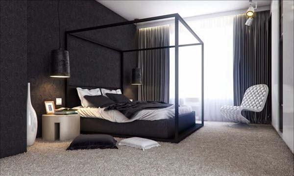 warna cat kamar tidur hitam putih 5
