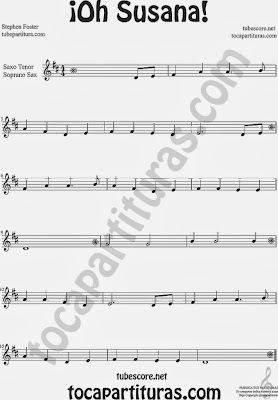 ¡Oh Susana! Partitura de Saxo Tenor y Soprano Sax Sheet Music for Tenor Saxophone and Soprano Sax