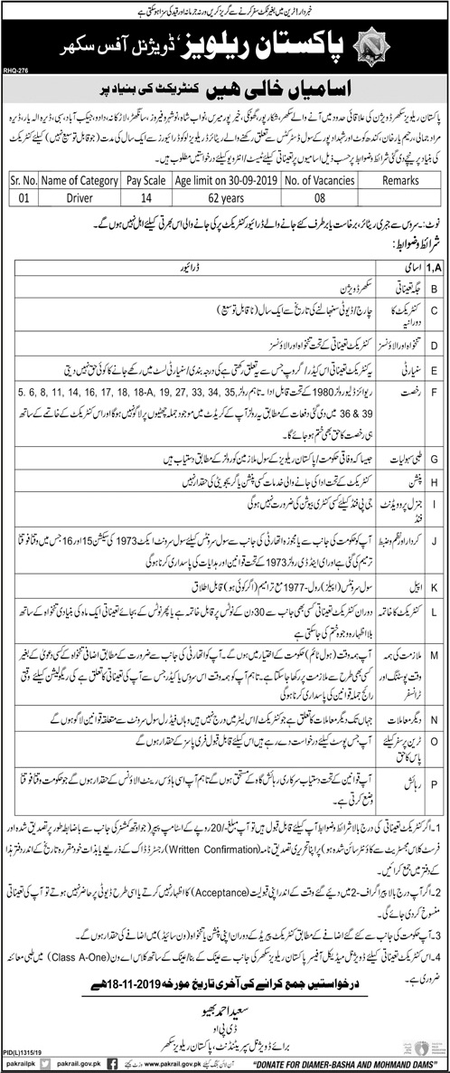 Pakistan Railways Jobs November 2019