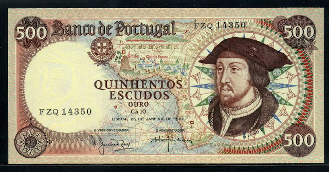 Portugal bank notes 500 Escudos banknote, King João II