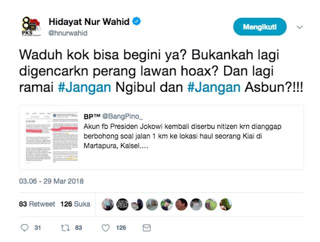 Akun Jokowi Dianggap Sebar Hoax, HNW: Lagi Ramai Jangan Ngibul, Jangan Asbun!