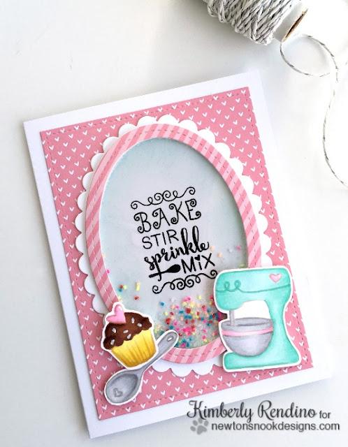 shaker card | newton's nook designs | kimpletekreativity.blogspot.com | cupcake | sprinkles