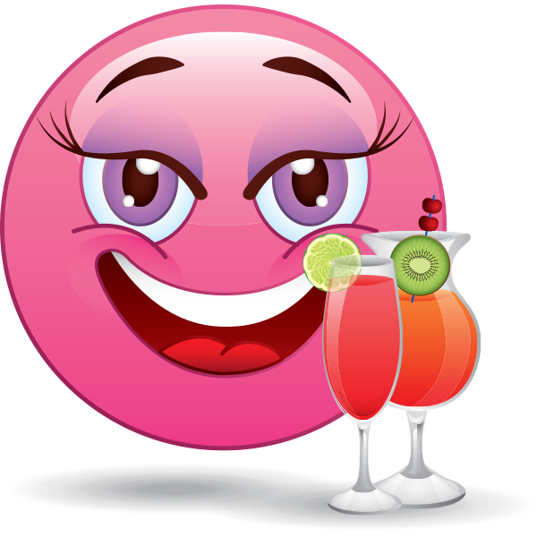 Pink Smiley with Cocktails