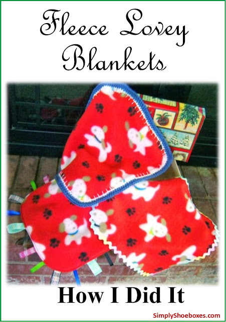 Fleece lovey blankets made for Operation Christmas Child shoeboxes.