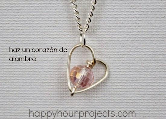 colgante, corazon, alambre, diy