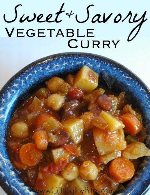 Sweet and Savory Vegetable Curry.  Loaded with fresh veggies and chickpeas, serve over rice for a perfect vegetarian dinner.