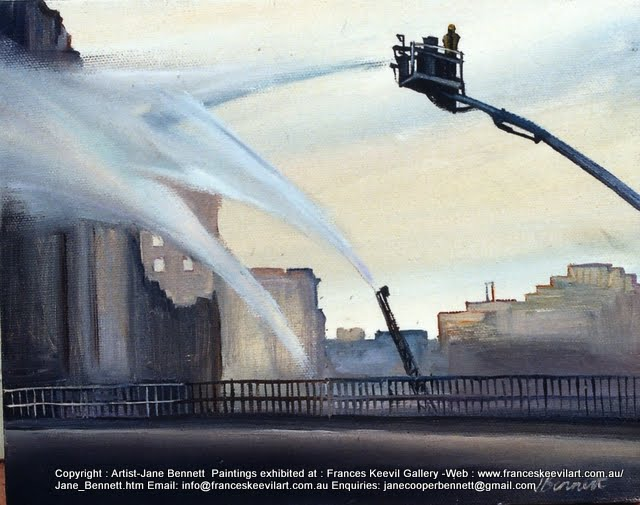 plein air oil painting of the fire in the AMLF & Co Ltd woolstore in Pyrmont  by industrial heritage artist Jane Bennett