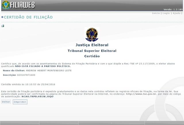 Vereador Andrew Leite perde prazo de filiação e fica fora da disputa para 2016