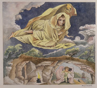 A watercolor illustration of a girl draped in yellow, crouched in the air above a scene of a baby being guided along by a pair of small hooded figures.