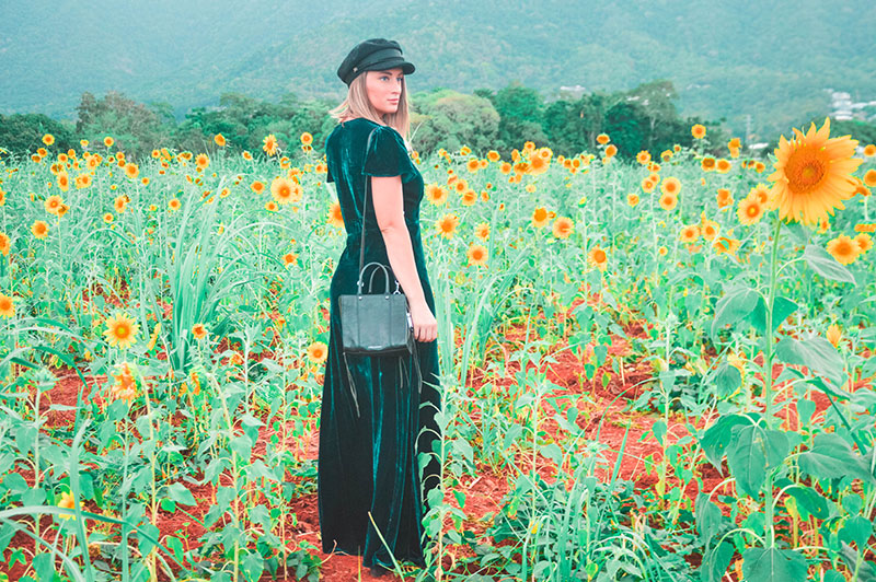 how to wear velvet 2018 sunflower fields fashion shoot teal velvet dress baker boy hat summer outfit