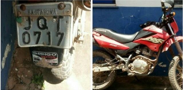 Barra da Estiva: Motocicleta suspeita de ser usada em assaltos é apreendida pela Polícia Militar